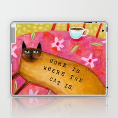 Siamese Cat HOME IS WHERE THE CAT IS Laptop & iPad Skin