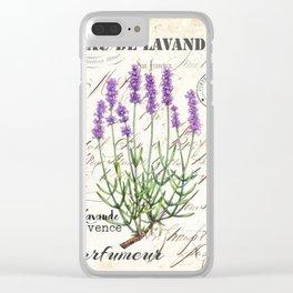 Lavender Antique Rustic Flowers Vintage Art Clear iPhone Case