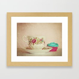 Vintage Teacup and Cupcake Framed Art Print