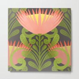 King Protea Flower Pattern - Gray Metal Print