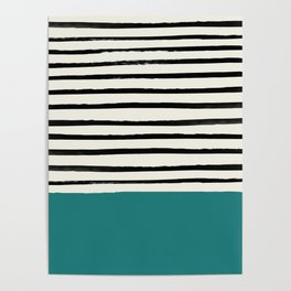 Teal x Stripes Poster