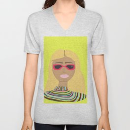 Lime Green Woman with Rainbow Sweater and Pink Sunglasses Unisex V-Neck