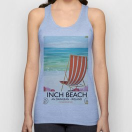 Inch Beach  An Daingean - ireland vintage travel poster Unisex Tank Top