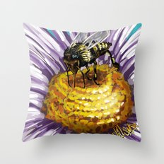 Wasp on flower 3 Throw Pillow