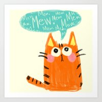 mew Art Prints featuring mew. by TangerineCafé