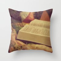 bible verses Throw Pillows featuring Bible by KimberosePhotography
