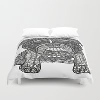 english bulldog Duvet Covers featuring  Inspired English Bulldog by DiAnne Ferrer