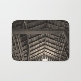 Old Barn Rafters in Sepia Bath Mat