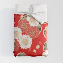 Japanese Vintage Red Black White Floral Kimono Pattern Comforters
