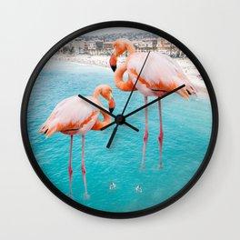 Flamingo on City Beach #animal #society6 #beach Wall Clock