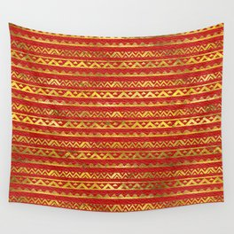 Geometric Lines Tribal  gold on red leather Wall Tapestry