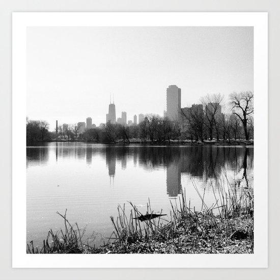 Black & White Chicago Reflected Skyline Art Print