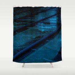 Blue Glass Waterfall Shower Curtain