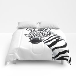 Zebra with glasses, black and white Comforters