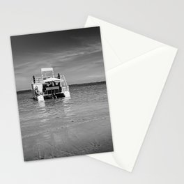 Catamaran boat at beach coast Stationery Cards