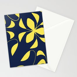 Leafy Vines Yellow and Navy Blue Stationery Cards