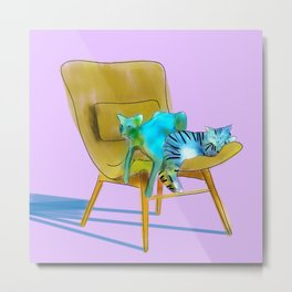 animals in chairs #12 Cats Metal Print