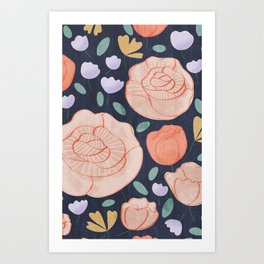 Floral Pattern Dark Blue Art Print