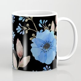 Blue flowers with black Coffee Mug