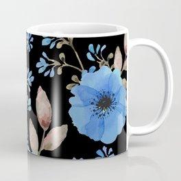 Blue flowers with black Coffee Mug