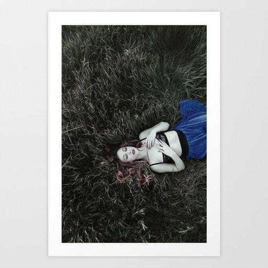 Grass girl Art Print