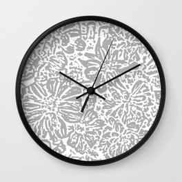 Marigold Lino Cut, Cloud Grey Wall Clock