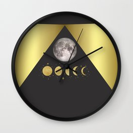 Elegant Abstract Gold Moon Phases Wall Clock