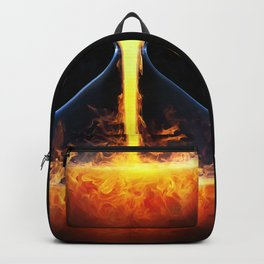 Old flame / 3D render of hourglass flowing liquid fire Backpack