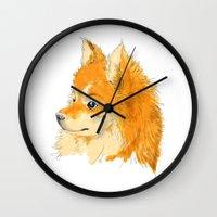 pomeranian Wall Clocks featuring Pomeranian by Det Tidkun