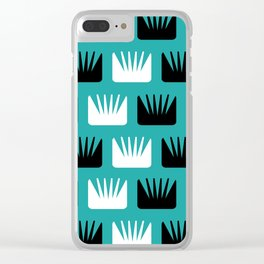 Mid Century Modern Abstract Flowers Teal Clear iPhone Case