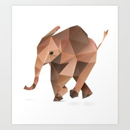 Low Poly Elephant Art Print