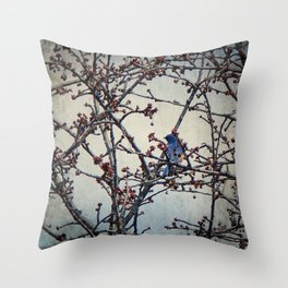 the bluebird and the cherry tree Throw Pillow