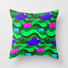 Undwater Aquarium Throw Pillow
