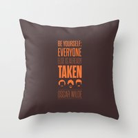 oscar wilde Throw Pillows featuring Lab No. 4 - Oscar Wilde Motivational quote poster by Lab No. 4