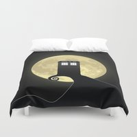 nightmare before christmas Duvet Covers featuring Nightmare Before A Tardis by kamonkey