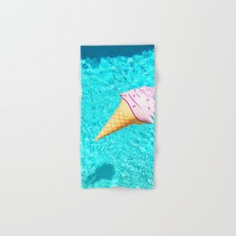 pink ice cream cone float all up in my pool yo Hand & Bath Towel