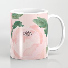 Watercolor Peonies with Blush Background Coffee Mug