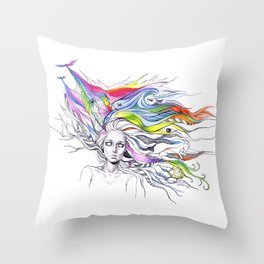 Dreams are made winding through her hair Throw Pillow