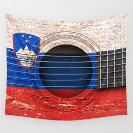Old Vintage Acoustic Guitar with Slovenian Flag Wall Tapestry