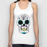 sugar skull Tank Tops featuring Sugar Skull by Julie Erin Designs