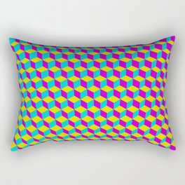 Colorful 3D Cubes Pattern Rectangular Pillow