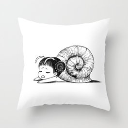 Snail girl Throw Pillow