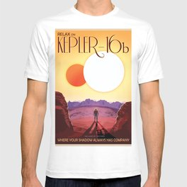 NASA Retro Space Travel Poster #8 Kepler 16b T-shirt