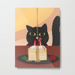 Carb Fiend aka Hungry Cat Eating Pancakes Metal Print