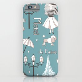 Paris Girl - Blue iPhone Case