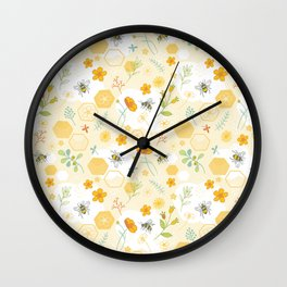 Honey Bees and Buttercups Wall Clock
