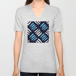 Blue and White Brush Strokes Pattern Unisex V-Neck