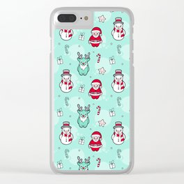 Christmas Santa claus Reindeer and snowman Clear iPhone Case