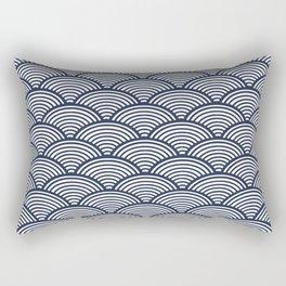 Japanese Waves Navy Rectangular Pillow