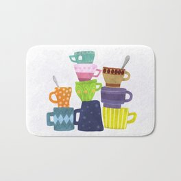 Coffee And Tea Cups And Mugs Stacked High Bath Mat
